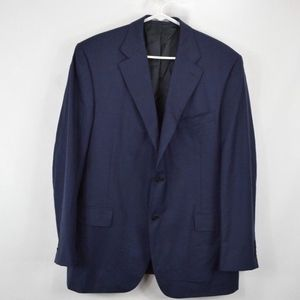 Canali Mens 44 Two Button Wool Blazer Jacket Blue